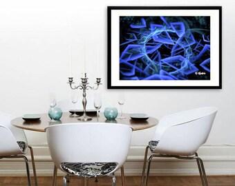 blue art, abstract art, fractal art, symmetric art, minimalist art, modern art, computer geek gift, geometric art, math art, geek nerd art