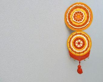 Crochet Mandala Wall Hanging Dreamcatcher Tribal Decor Hippie Boho Home Decor, Crochet Mandala Wall Art