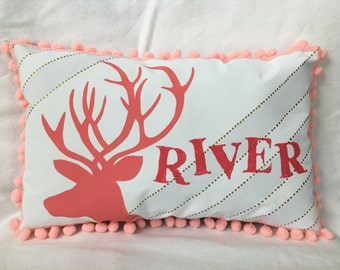 Baby pillow with pink deer accent in light gray stripes, gold polka dots & coral letting. Personalized with name.