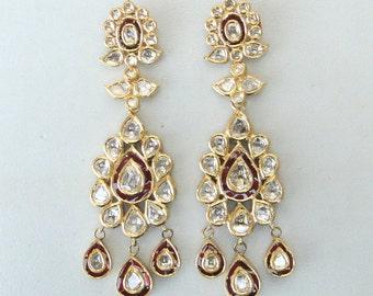 Vintage Antique Solid 20k Gold Diamond Polki Kundan Enamel Work Earring Pair India