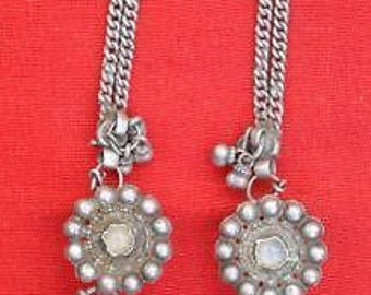 Ethnic Tribal Old Silver Earring/Plugs With Hair Chain india