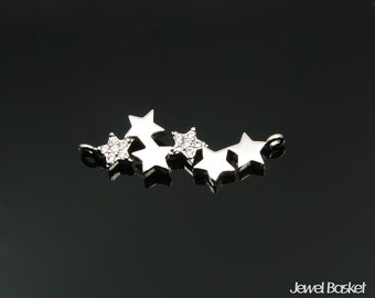 6 Stars Charm for Necklace in Rhodium / 24.0mm x 8.5mm / BMS324-P (1 piece)