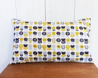 Cushion cover 50 x 30 cm fabrics blue and mustard yellow Scandinavian deco flowers