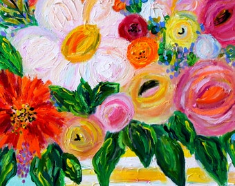 """GICLEE PRINT, Flowers in Ginger Jar, Floral Still Life, Bold Colorful Bouquet, """"ALEX"""" by Carolyn Shultz"""