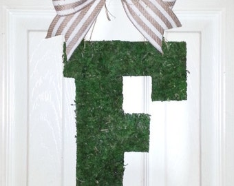 "Clearance, 13"" Moss Letter, monogram ""F"" door hanger, letter F wreath, initial door hanger, wood door hanger, personalized wreath, initial F"