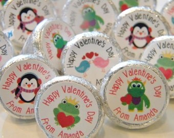 Valentine's Day Party Favors - Personalized Valentine Hershey Kisses -  Valentine's Day Hershey Kiss Stickers - Valentine's Day