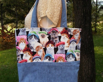 Large Tote Bag - Cats & Hats Tote Bag - Recycled Denim Jumper Tote Bag - Cats Wearing Hats Tote - Large Cat Craft/Market/Beach/Book Tote Bag