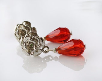 Crystal red drop post stud flower women unique earrings