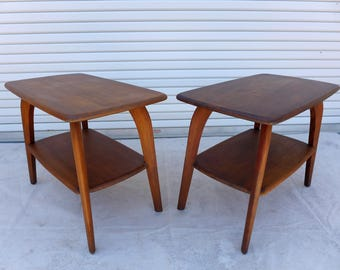 Pair Of Heywood Wakefield End Tables Two Tier Saber Leg Side Table M791 33  Walnut