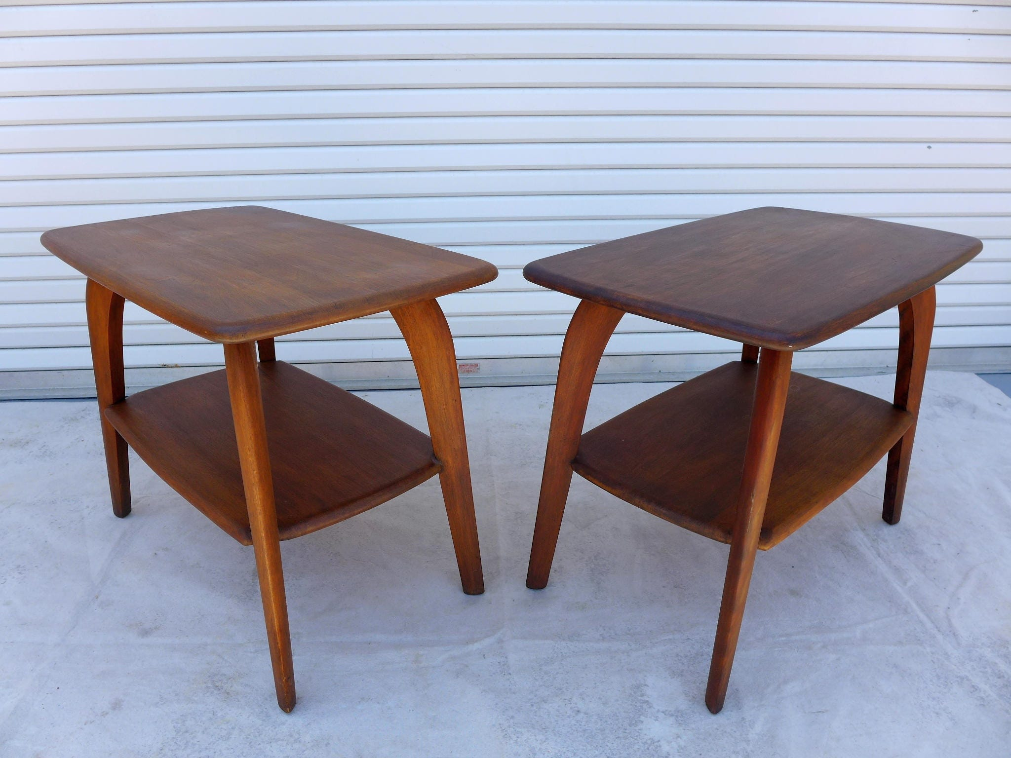 Pair of Heywood Wakefield End Tables Two Tier Saber Leg Side