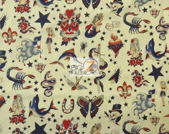 100% Cotton Fabric By Alexander Henry - Tattoo Ivory - By The Yard DIY Clothing Decor Licensed De Leon Designs