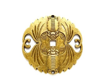 1 Antique Bronze Chinese Double Bat Connector - 2-C-16