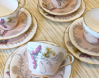 """Aynsley Dessert Tea Service """"Wayside"""" / Vintage Cake Plate / Antique Tea cups and Dessert Set / Pink Floral Vintage Tea"""