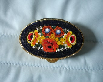 Italian Micro Mosaic Pill Box/Trinket Box in Blue and Gold