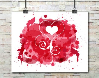 Red Painted Heart Swirl Cutout | 10 x 8 Printable Wall Art | Digital Painting | Digital Download | Wall Decor | Wall Hangings | Printables