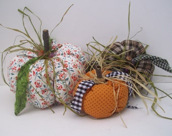 Halloween, Thanksgiving Pumpkins, Fall Decor, Autumn Decor, Home Decor, Home and Living, Handmade, Fabric,  One-of-a-kind, Fabric Pumpkins