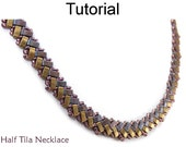 Beading Tutorial Pattern - Necklace - Miyuki Half Tila Beads - Simple Bead Patterns - Half Tila Necklace #20048