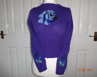 Hand knitted wool purple 1940s style jumper sweater with blue rose Morrissey 12