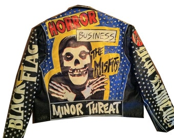 Studded Punk Jacket - Men's Large (46) - MISFITS Minor Threat Dead Kennedys Black Flag Leather Motorcycle Jacket Circle Jerks T.S.O.L
