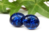 Reserved for Debra - Royal Blue Dichroic Glass Sterling Silver Stud Earrings, Fused Glass Jewelry, Cobalt Blue Art Glass Oval Post Earrings