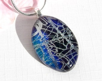 Blue and Silver Dichroic Glass Pendant,  Fused Glass Jewelry, Random Silver and Blue Art Glass Necklace