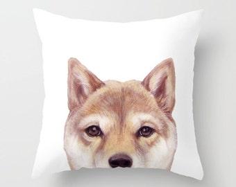 Shibainu, Pillow cover  Original painting print design, home decor ornament and decoration housewares