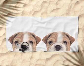 Beach Towel, original painting design, Bulldog. dog illustration print.