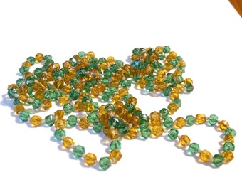 Long Art Deco Flapper Glass Bead Necklace Handmade Antique Orange Green Beads Hand Knotted Genuine Antique 1920s Era Jewelry