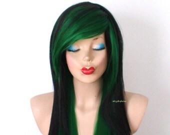 Scene wig. Black Green wig. Straight hairstyle long side bangs wig.  Emo wig. Cosplay wig.