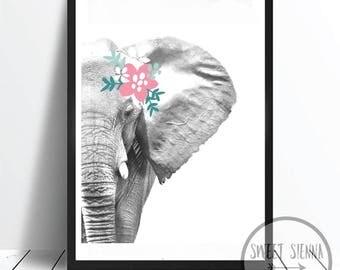 Elephant Print, Animal Print, Jungle Print, animal wall print, wall art, monochrome print, wall decor, children wall art - 8x10'