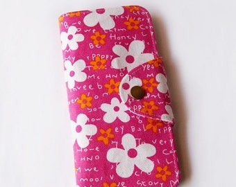 SALE 25% Blossom White Floral in Hot Pink Long Passport Wallet, Boarding Pass Holder, Family Passport Wallet