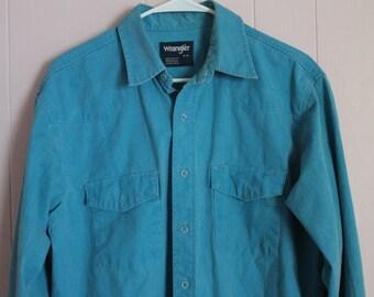 Vintage 80's Men's Turquoise Wrangler Button-up Long Sleeve Shirt