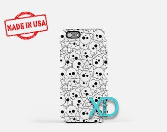 Skull Phone Case, Skull iPhone Case, Halloween iPhone 7 Case, Black and White, Halloween iPhone 6 Case, Skull Tough Case, Clear Case, Bones