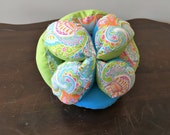 Amish Fabric Puzzle Ball Lime Turquoise Paisley Baby Child Pet Toy