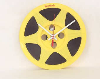 Wall Clock made from Kodak Movie Reel // Red and Yellow // Geekery // Clocks by DanO