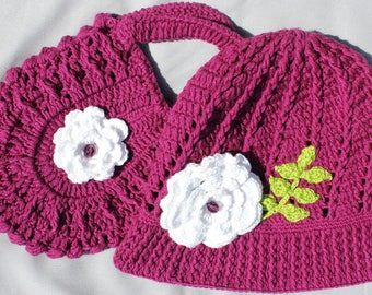 Girls Panama Hat, Toddler Tote Bag, Toddler Panama Hat, Girls Crochet Bag, Girls Cloche Hat, Girls Crochet Hat, Toddler Tote, Girls Gift