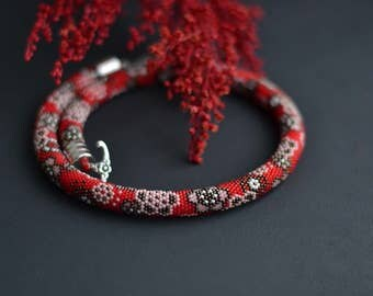 Red Japanese Style Bead Crochet Necklace Beadwork Sakura Floral Choker Crochet With Beads Red Kimono Japanese Jewelry Artisan Design