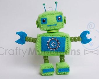 Cute Green & Blue Plush Felt Robot