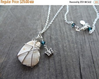 ON SALE Silver Handmade Wire Wrap Crystal Shell Pendant Necklace Jewelry Sea Shell Butterfly Charm Butterflies Insect