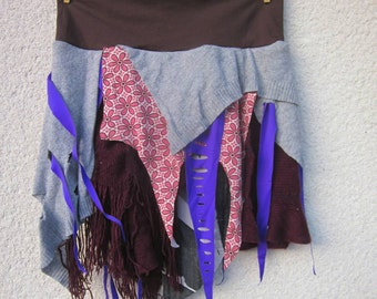 Grey, violet post apocalyptic skirt, gypsy skirt, medium size, elastic waist