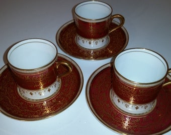 Vintage Aynsley Demitasse and Saucer Set of 3 Maroon #7098 Pattern Bone China Made in England