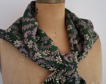 "Vintage Silk Scarf Boho Batik Christmas Square Scarf Green/Purple/Ivory Floral Design Made in India 34""  x   34"" NOS 1980's"