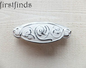 4 Cup Handle Decorative Shabby Chic Cupboard Bin Pulls White Kitchen Cabinet Hardware Door Drawer Distressed Painted 3inch ITEM DETAIL BELOW