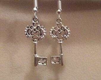 Antique Vintage Key Earrings In Bronze or Silver You Choose