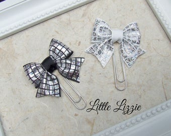 Bow planner clips, singles or pairs, planner accessories, planner clips, bookmarks, teacher gifts, Black and white