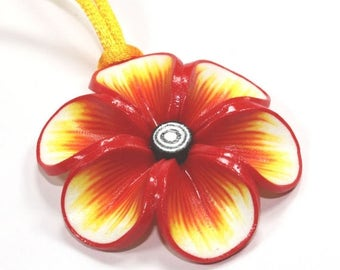 SPRING SALE Spring flower pendant, polymer clay flower, Millefiori flower in rich warm colors: red orange and yellow, gift for girls and wom