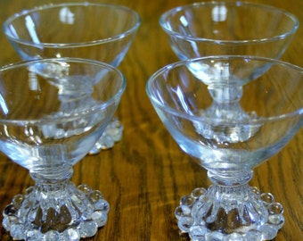 Anchor Hocking Berwick Bubble Boopie Set of 4 Clear Footed Dessert Glasses
