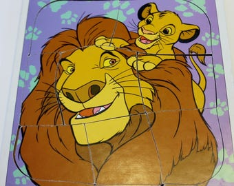 Lion King Puzzle - Playskool Wooden Puzzle: Disney's Lion King - Mufasa and Simba 8 pieces - Disney Puzzle