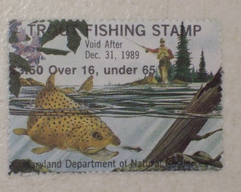 1989 State of Maryland Trout Fishing Stamp, MNH