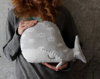Sleepy whale pillow nursery decor 10x15' primitive stuffed animal toy nautical nursery boho travel pillow grey white crowns prince princess